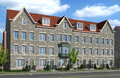 EYA's Stone Architecture at Chancellor's Row New Townhome Community in Washington, DC.