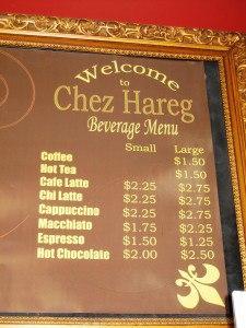 Chez Hareg Coffee Menu