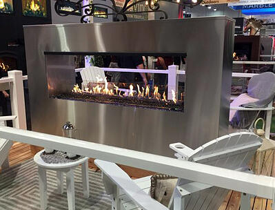 Large fireplaces are everywhere at the builder show.