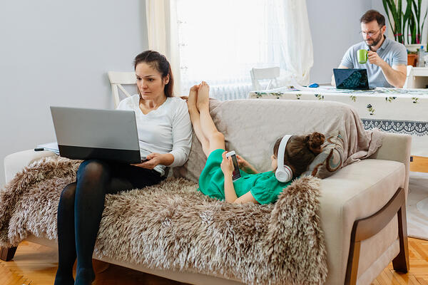 family working from home with kids