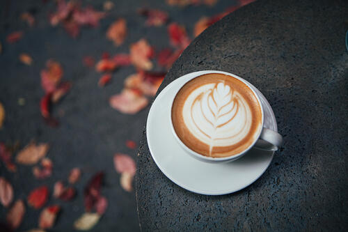 Fall flavored coffee latte