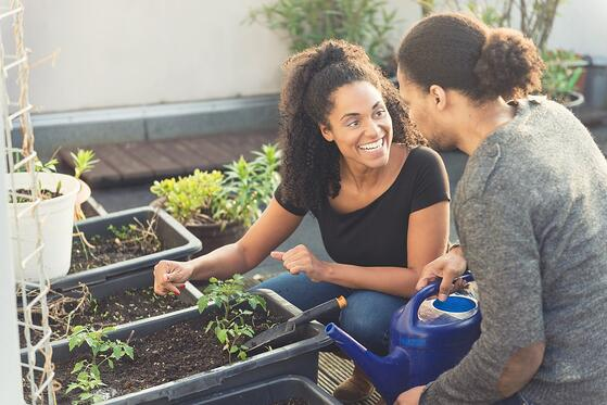 A couple working together on their rooftop garden