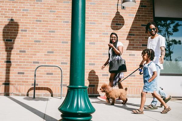 michigan park family walking dog-1