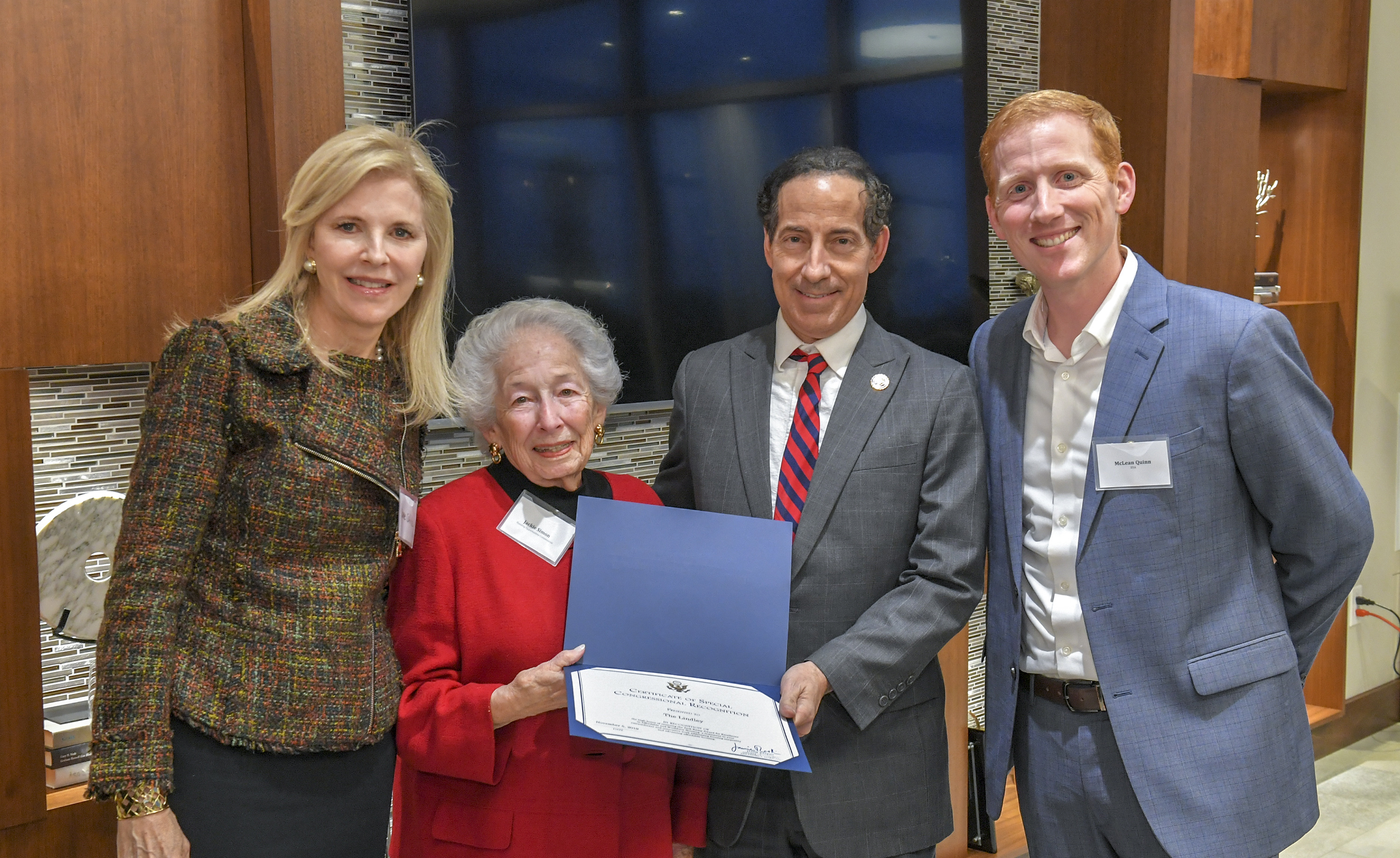 The Lindley Awarded Congressional Recognition from Congressman Raskin During Celebration of 2019 Jack Kemp Award